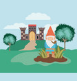 gnome in the camp with castle vector image