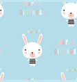 greeting pattern with little rabbit vector image