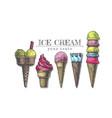 ice cream cones collection vector image vector image