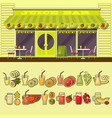 juice bar and set of colorful food and drink fruit vector image vector image