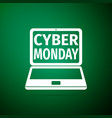 Laptop with cyber monday sale text on screen icon