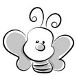 little bee drawing on white background vector image vector image