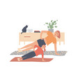 mother and daughter exercise at home and make vector image vector image