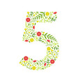 number 5 green floral made leaves vector image vector image