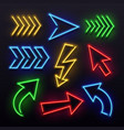 realistic neon arrows night arrow sign lamp vector image vector image