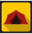 Red tent icon flat style vector image vector image