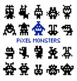retro pixel space monsters vector image