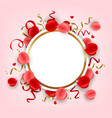 round banner with rose petal vector image vector image