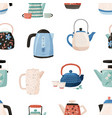 seamless pattern with cute ceramic teapots and vector image