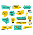 set isolated tips icons quick advice and info vector image vector image