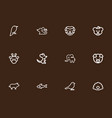 set of 12 editable animal outline icons includes vector image vector image