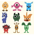 Set of cartoon cute character Monsters vector image vector image