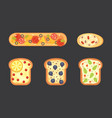 set toasts and sandwich breakfast bread toast vector image vector image