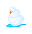 snowman melts spring comes snow and water vector image vector image