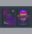 summer synthwave party set posters with grid vector image