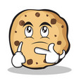 thinking face sweet cookies character cartoon vector image vector image