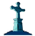 tombstone cross vector image vector image
