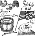 Usa waving flag bald eagle and drum with drumstiks vector image