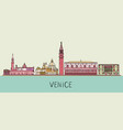 venice cityscape with famous landmarks vector image vector image