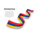 waving ribbon or banner with flag of armenia