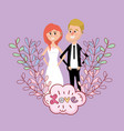 wedding card design cartoon vector image vector image