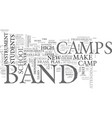 what to know about band camps text word cloud vector image vector image