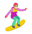 young girl is riding a snowboard in stylish bright vector image vector image