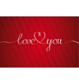 Love You Heart Hand drawn Lettering vector image