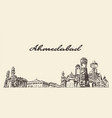 ahmedabad skyline india hand drawn sketch vector image vector image