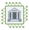 bank building inside cpu icon electronic banking vector image vector image