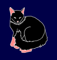 black cat sleeping on blue background vector image