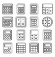 calculator icons set on white background line vector image vector image