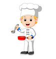 cartoon chef with a ladle vector image