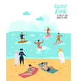 characters people surfing at beach poster vector image