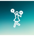 Cheerleader with pom thin line icon vector image