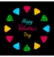 Colorful diamonds circle Valentines Day card vector image
