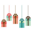 colorful silhouette of gift boxes with decorative vector image vector image