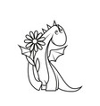 coloring book cute little dragon holding flower vector image vector image