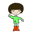 comic cartoon boy in poor clothing giving thumbs vector image vector image