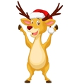 Cute deer cartoon waving vector image