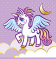 cute unicorn stars clouds and moon greeting card vector image vector image