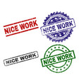 damaged textured nice work stamp seals vector image vector image