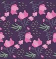 dark night pattern with pink poppy flowers vector image vector image