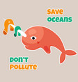 eco poster stop pollution with sad narwhal vector image vector image