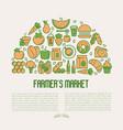 farmers market concept in circle vector image vector image
