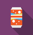 Flat design modern of soda can icon with long vector image vector image