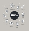 flower hand drawn doodle icons set vector image vector image