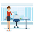 girl in strict clothes with documents in office vector image vector image