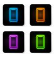 glowing neon smartphone mobile phone icon vector image vector image