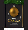 golden christmas ball and text on dark background vector image vector image